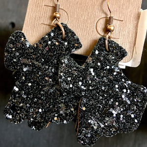 Black Glitter Texas Shape Earrings