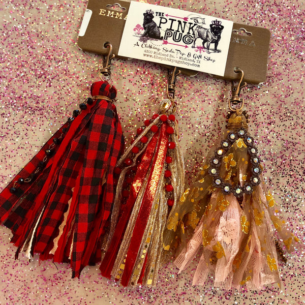 Red Beaded Gold Lace Keychain