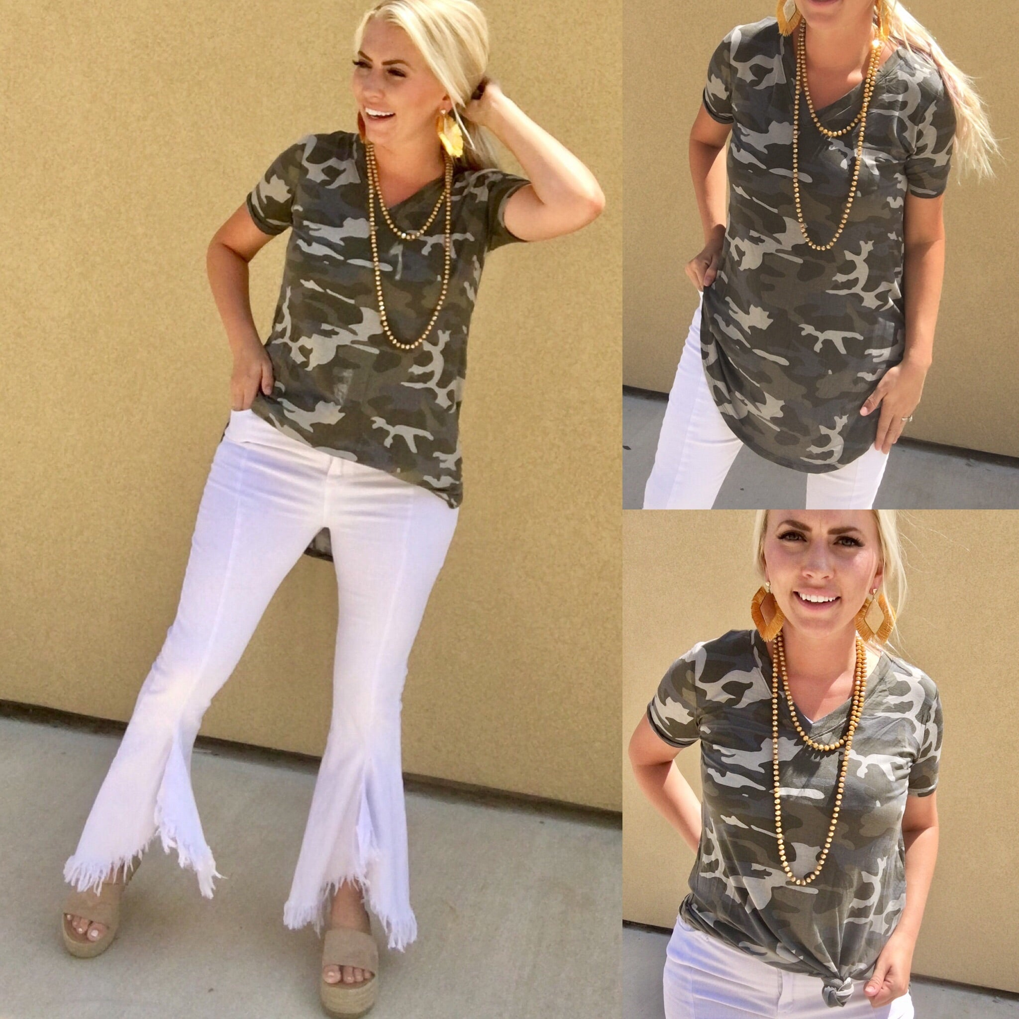Dusty Camo V-Neck Top