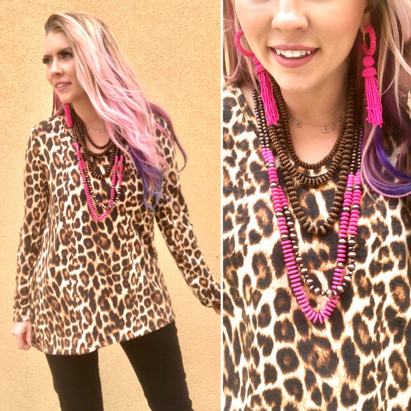 Leopard Is My Color Long Sleeve Top-SALE