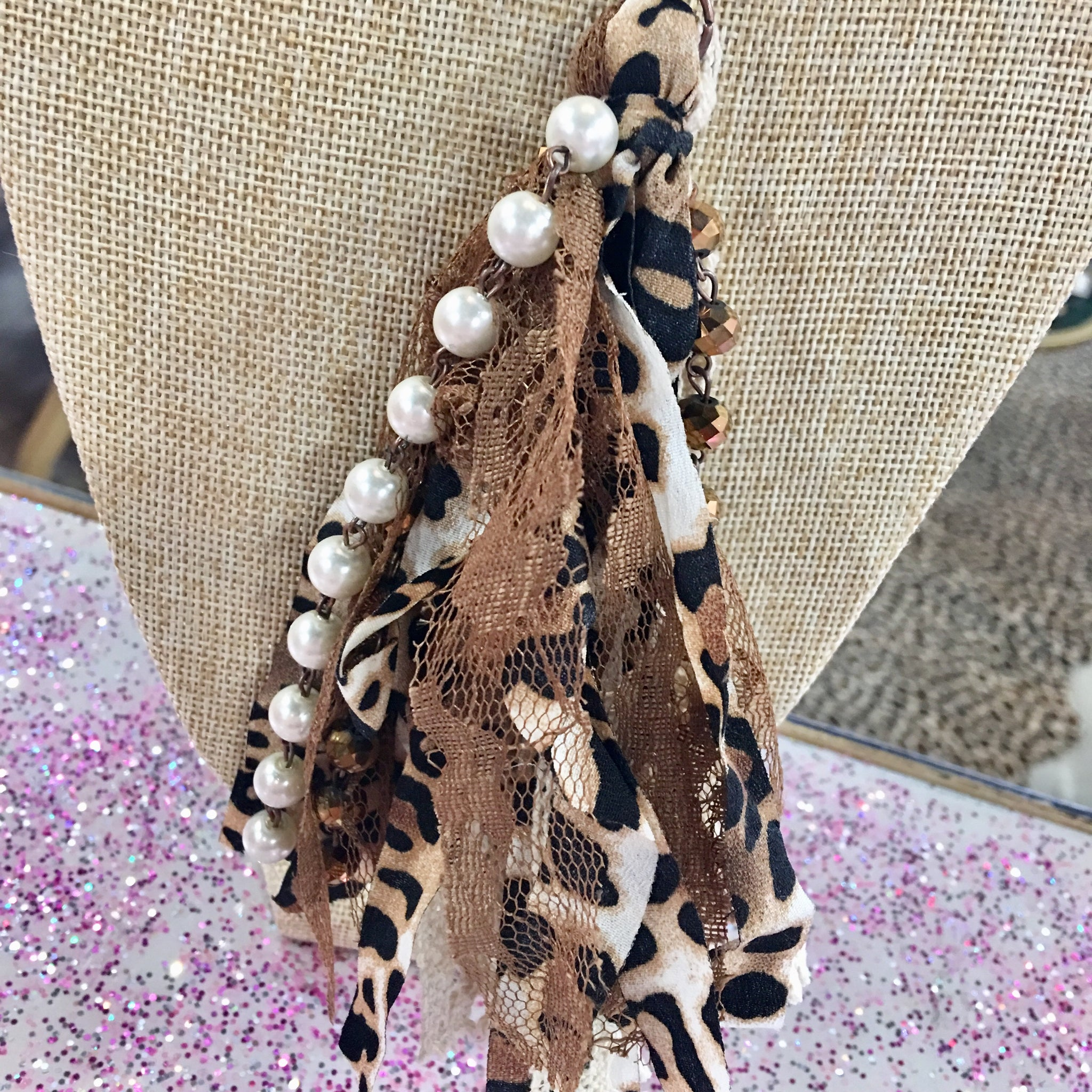Black Mix Beaded Leopard Fabric Tassel Necklace