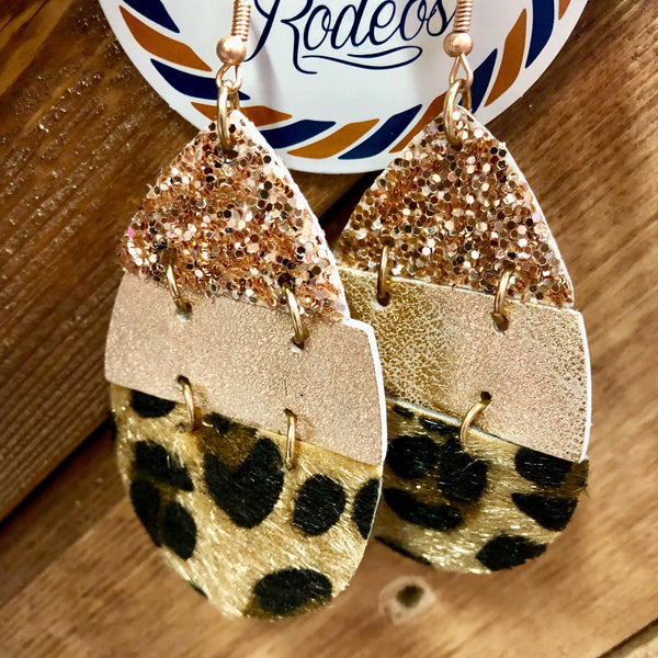 Leopard Layered Teardrop Earrings- 4 COLORS