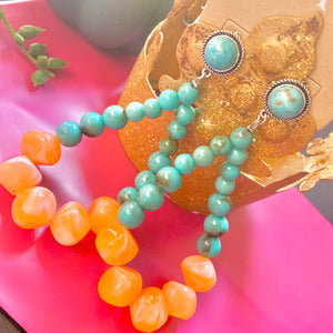 Orange Beaded Post Earrings- 2 STYLES