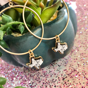 Dainty Texas Pendant Hoop Earrings- 2 COLORS