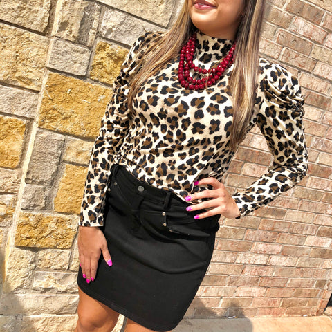 Straight To Business Leopard Turtleneck Top