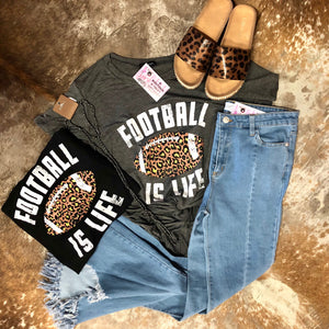 Grey Football is Life Leopard Tee