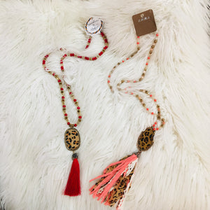 Red Leopard Hide Pendant Tassel Necklace