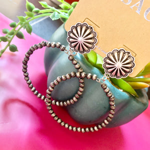 Concho Post Navajo Pearl Hoop Earrings