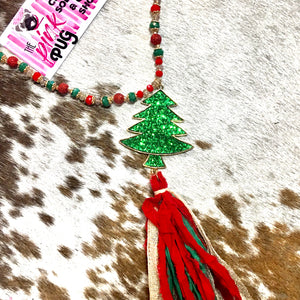 Red & Green Christmas Tree Tassel Necklace