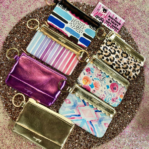 Purple Metallic Key Ring Wallet