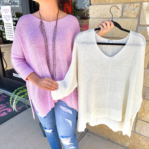 White Woven Scoop Neck Sweater