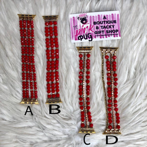 Multi Beaded Red Apple Watch Bands