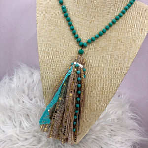 Turquoise Glam Beaded Fabric Tassel Neckalce