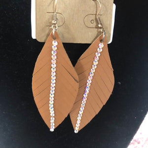 Brown Diamond Feather Earrings