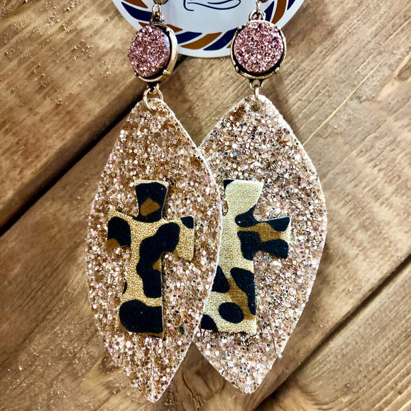 Druzy Glitter Leopard Cross Earrings- 3 COLORS