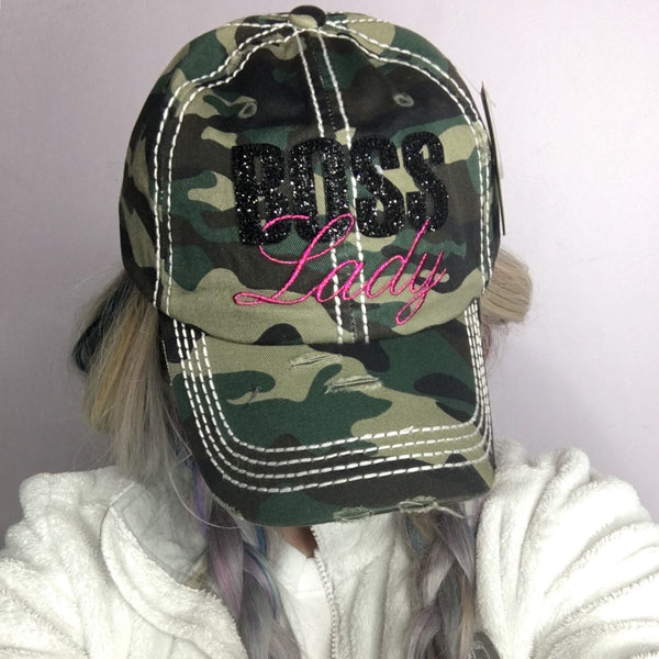 Camo Boss Lady Distressed Baseball Cap