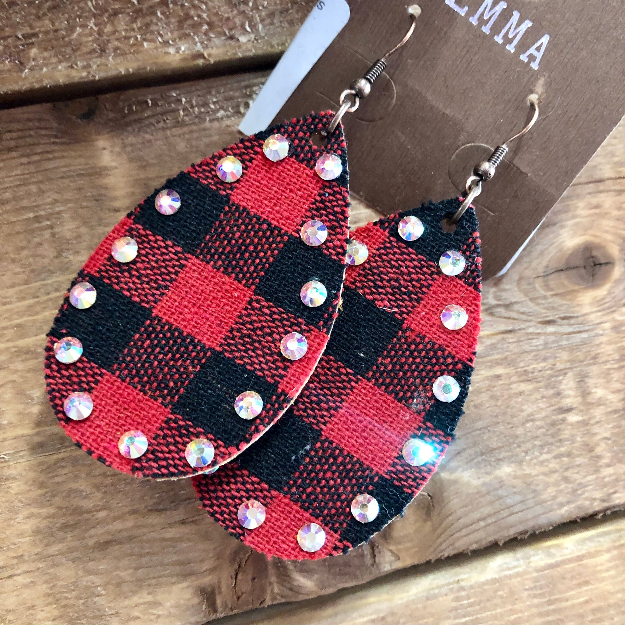 Buffalo Plaid Diamond Studded Teardrop Earrings