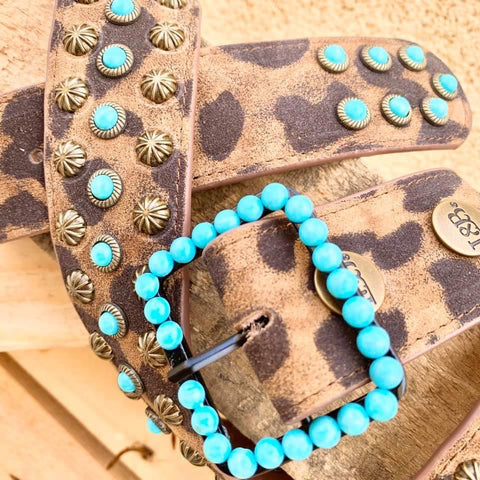 Leopard And Turquoise Embellished Belt