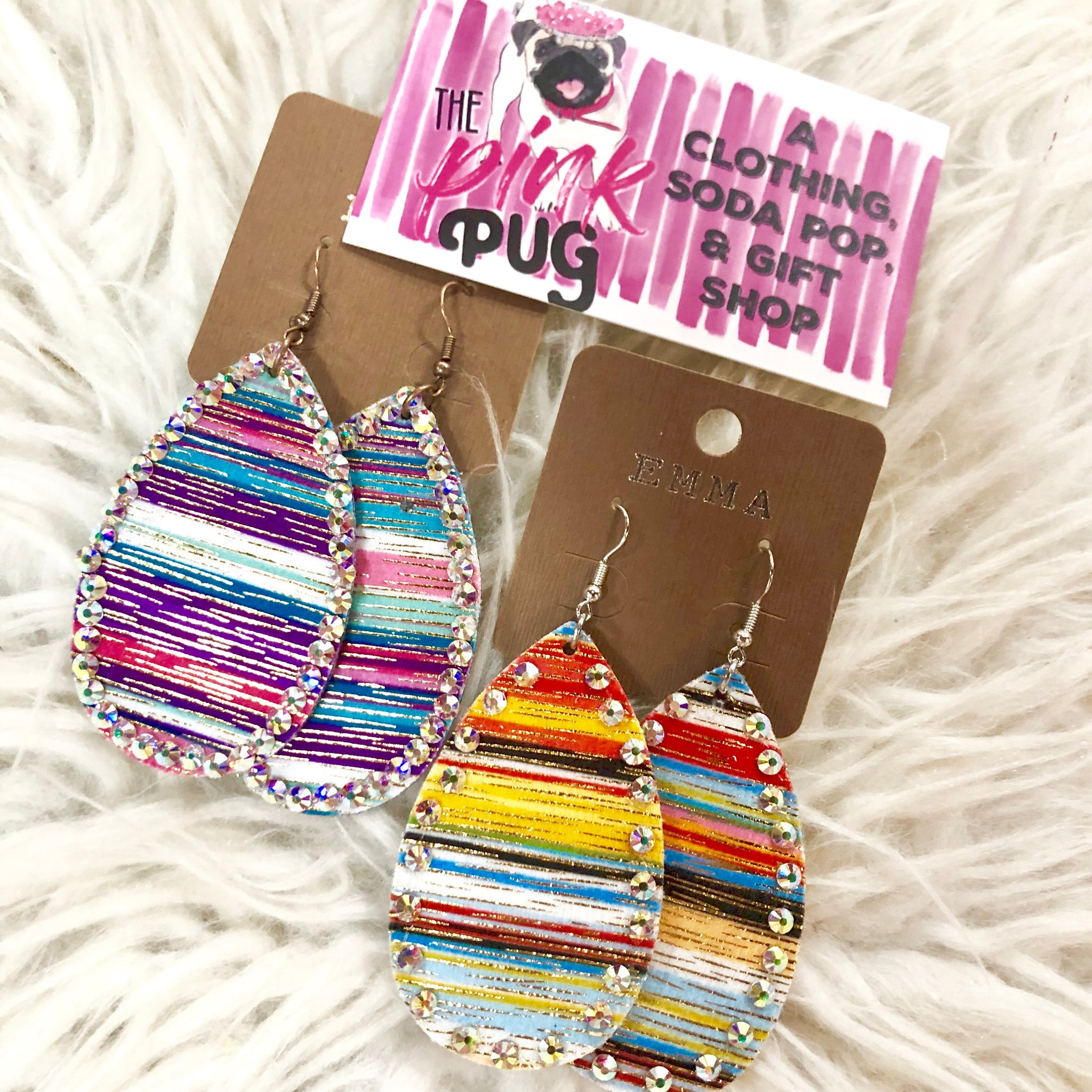 Crystal Lined Teardrop Serape Earrings- 4 COLORS