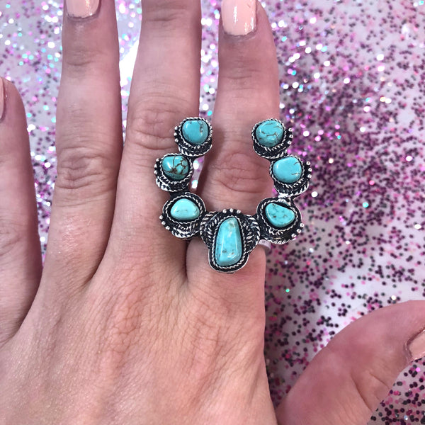 Squash Blossom Turquoise Ring- 2 COLORS