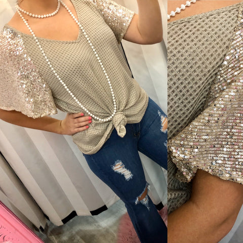 Taupe Sequin Sleeve Knit Top
