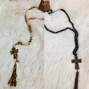 Leopard Cross Tassel Necklace