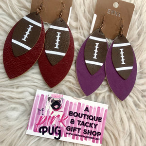 Layered Football Leather Earrings- 2 COLORS