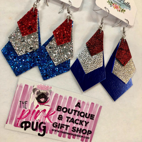 Red Silver & Blue Glitter Layer Earrings