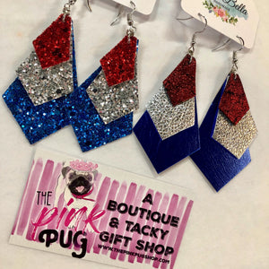 Red Silver & Blue Foil Layer Earrings