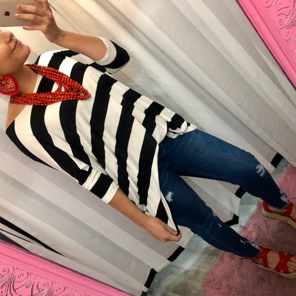 Black Striped Off Shoulder Tunic Top