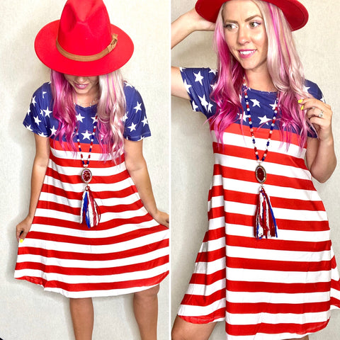 Flag Day Short Sleeve Dress- SMALL-3XL