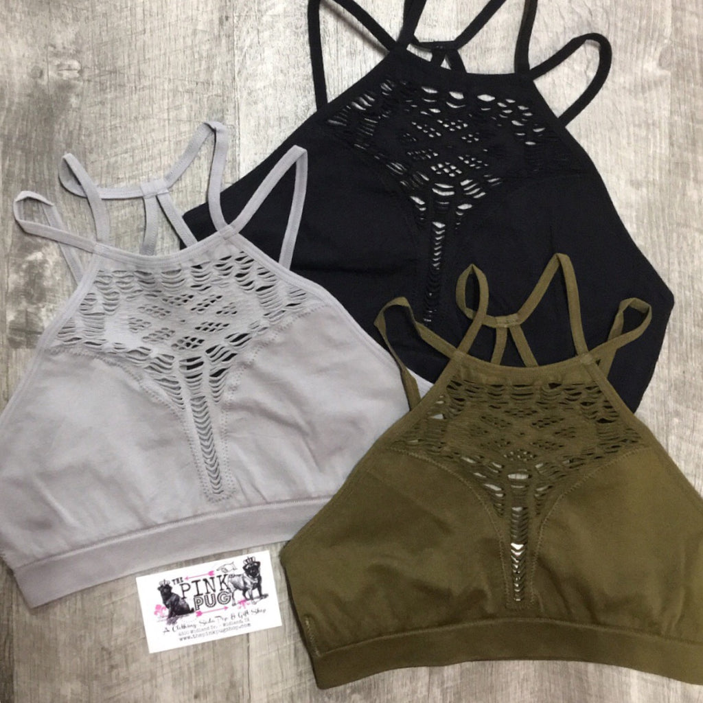 Grey High Neck Cutout Strappy Bralette