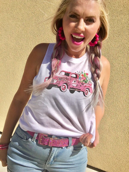 Pink Farm Truck Muscle Tank-SALE
