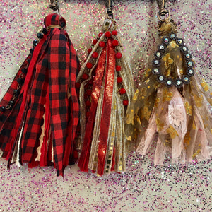 Red Buffalo Plaid Beaded Keychain