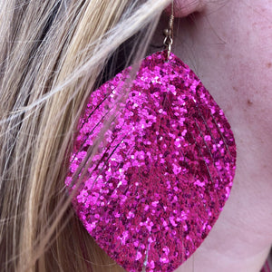 Glitter Oval Feather Earrings- 7 COLORS
