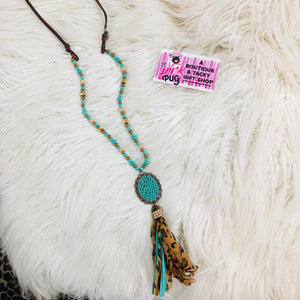 Turquoise & Leopard Beaded Pendant Necklace