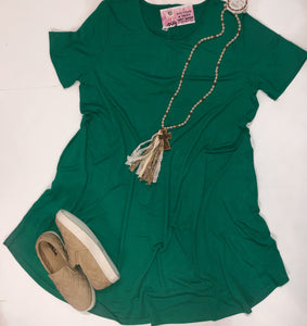 Plus Size Kelly Green T-Shirt Pocket Dress