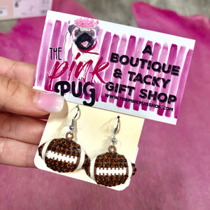Rhinestone Football Earrings