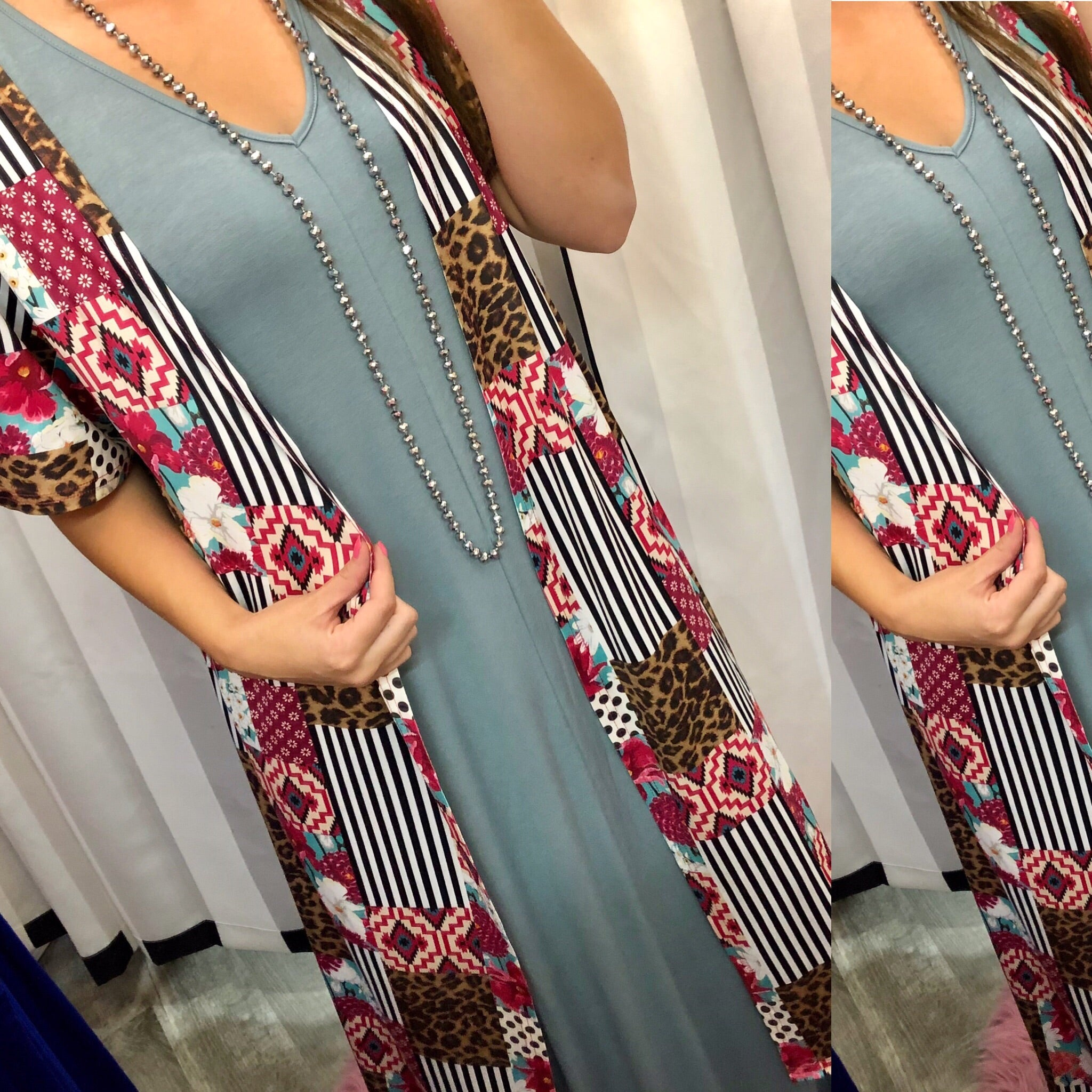 Slate Blue V-Neck Maxi Dress