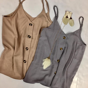 Sand Button Down Tank