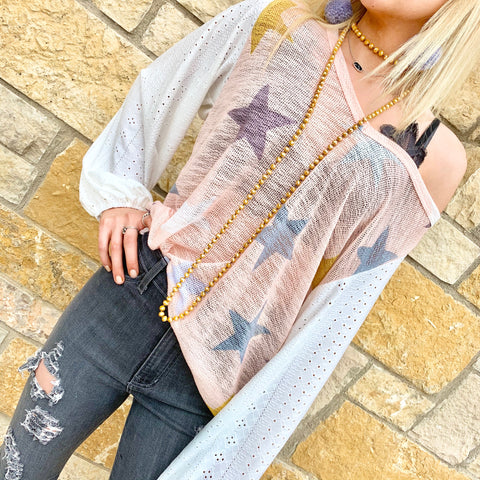 Mix And Match Star Printed Balloon Sleeve Top