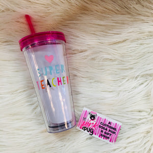 Super Teacher 22oz Travel Tumblr