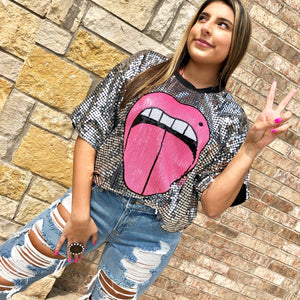 Krazy Kiss Sequin Crop Top