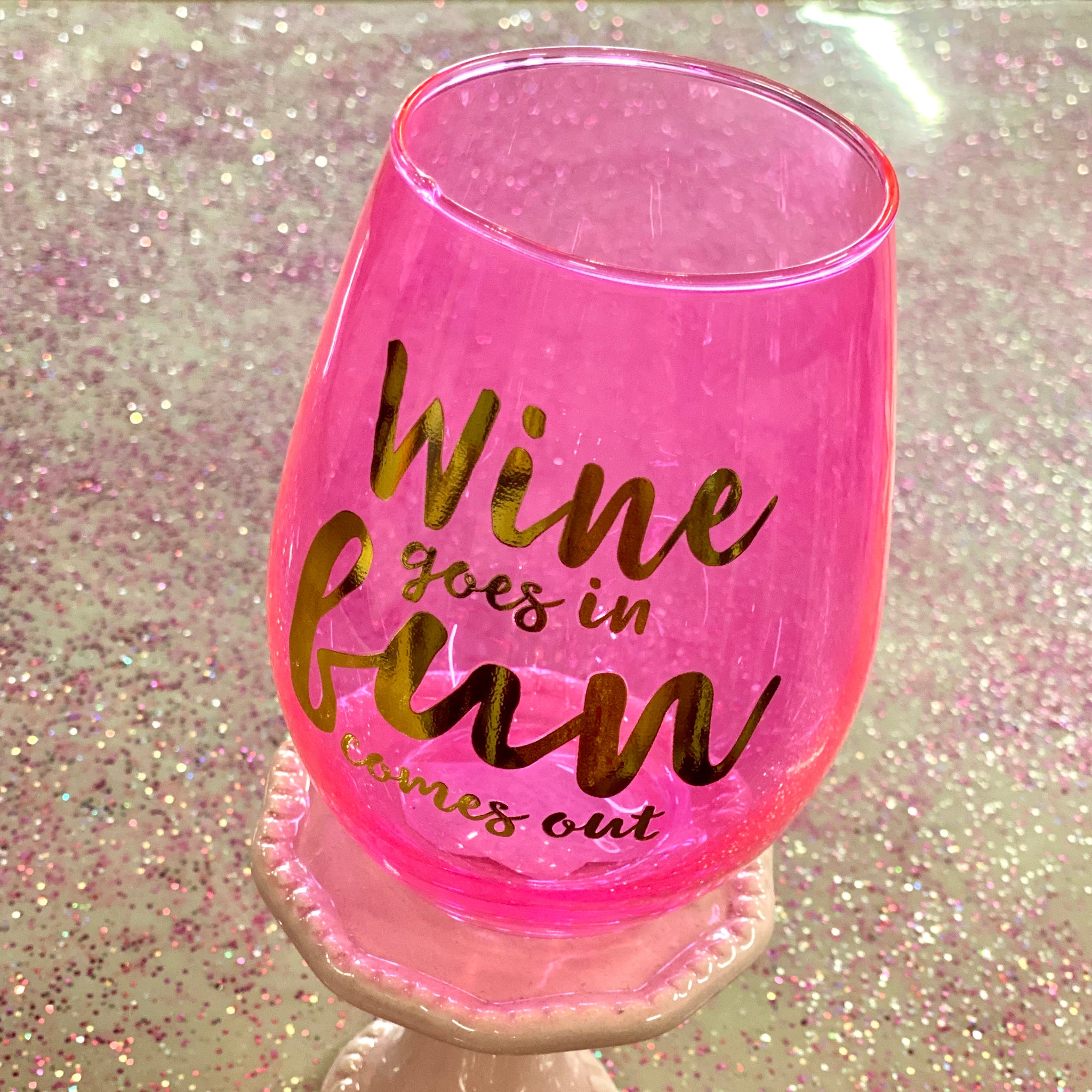 Wine Goes In... 20oz Stemless Wineglass
