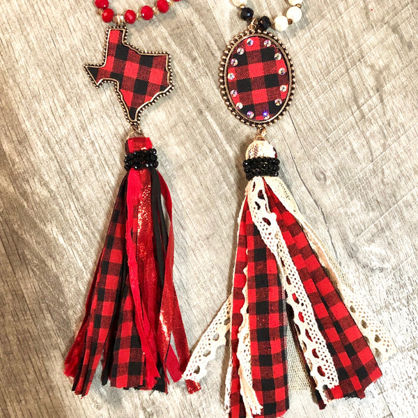 Buffalo Plaid Texas Fabric Tassel Necklace