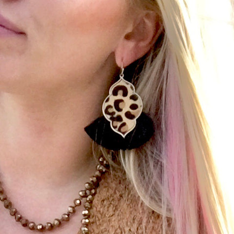 Leopard Moroccan Black Tassel Fan Earrings
