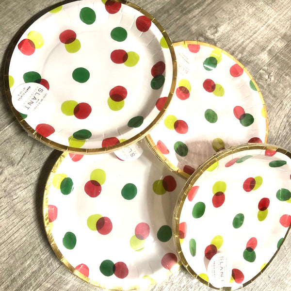 Christmas 7x7in Polkadot Paper Plates-SALE