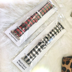 Buffalo Plaid Leather Apple Watch Bands // 2 COLORS