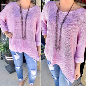 Lavender Woven Scoop Neck Sweater