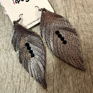 Silver Metallic Feather Earrings